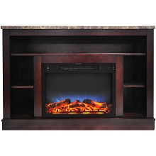 Cambridge 47 In. Electric Fireplace with a Multi-Color LED Insert and Mahogany Mantel - CAM5021-1MAHLED