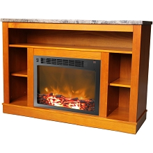 Seville Fireplace Mantel with Electronic Fireplace Insert in Teak - CAM5021-1TEK