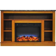 Cambridge 47 In. Electric Fireplace with a Multi-Color LED Insert and Teak Mantel - CAM5021-1TEKLED