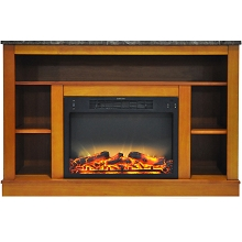 Cambridge 47 In. Electric Fireplace with Enhanced Log Insert and Teak Mantel - CAM5021-1TEKLG2