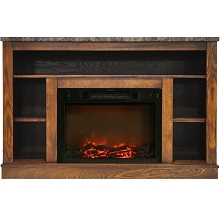 Cambridge 47 In. Electric Fireplace with 1500W Charred Log Insert and A/V Storage Mantel in Walnut - CAM5021-1WAL