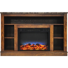 Cambridge 47 In. Electric Fireplace with a Multi-Color LED Insert and Walnut Mantel - CAM5021-1WALLED