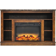 Cambridge 47 In. Electric Fireplace with Enhanced Log Insert and Walnut Mantel - CAM5021-1WALLG2