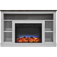 Cambridge 47 In. Electric Fireplace with a Multi-Color LED Insert and White Mantel - CAM5021-1WHTLED