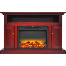 Cambridge Sorrento Electric Fireplace with an Enhanced Log Display and 47 In. Entertainment Stand in Cherry - CAM5021-2CHRLG2