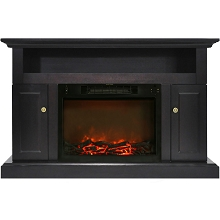 Cambridge Sorrento Electric Fireplace with 1500W Log Insert and 47 In. Entertainment Stand in Black Coffee - CAM5021-2COF