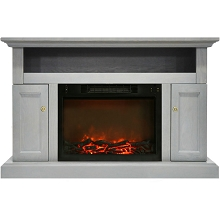 Cambridge Sorrento Electric Fireplace with 1500W Log Insert and 47 In. Entertainment Stand in Gray - CAM5021-2GRY