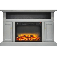 Cambridge Sorrento Electric Fireplace with an Enhanced Log Display and 47 In. Entertainment Stand in Gray - CAM5021-2GRYLG2