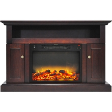 Cambridge Sorrento Electric Fireplace with an Enhanced Log Display and 47 In. Entertainment Stand in Mahogany - CAM5021-2MAHLG2