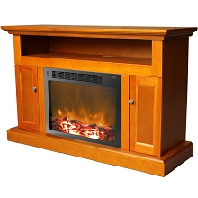 Sorrento Fireplace Mantel with Electronic Fireplace Insert in Teak - CAM5021-2TEK