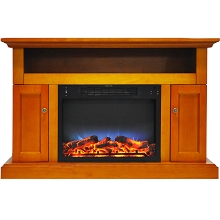 Cambridge Sorrento Electric Fireplace with Multi-Color LED Insert and 47 In. Entertainment Stand in Teak - CAM5021-2TEKLED