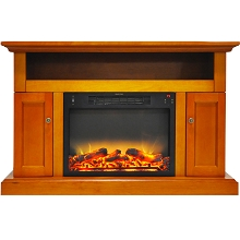 Cambridge Sorrento Electric Fireplace with an Enhanced Log Display and 47 In. Entertainment Stand in Teak - CAM5021-2TEKLG2