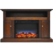 Cambridge Sorrento Electric Fireplace with Multi-Color LED Insert and 47 In. Entertainment Stand in Walnut - CAM5021-2WALLED