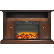 Cambridge Sorrento Electric Fireplace with an Enhanced Log Display and 47 In. Entertainment Stand in Walnut - CAM5021-2WALLG2