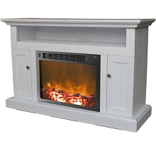 Sorrento Fireplace Mantel with Electronic Fireplace Insert in White - CAM5021-2WHT