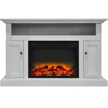Cambridge Sorrento Electric Fireplace with an Enhanced Log Display and 47 In. Entertainment Stand in White - CAM5021-2WHTLG2