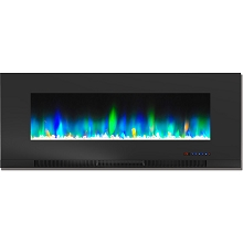 Cambridge 50 In. Wall-Mount Electric Fireplace in Black with Multi-Color Flames and Crystal Rock Display - CAM50WMEF-1BLK