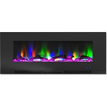 Cambridge 50 In. Wall-Mount Electric Fireplace in Black with Multi-Color Flames and Driftwood Log Display - CAM50WMEF-2BLK