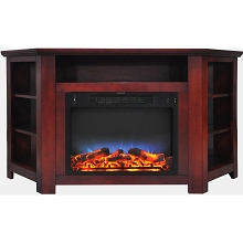 Cambridge Stratford 56 In. Electric Corner Fireplace in Cherry with LED Multi-Color Display - CAM5630-1CHRLED