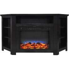 Cambridge Stratford 56 In. Electric Corner Fireplace in Black Coffee with LED Multi-Color Display - CAM5630-1COFLED