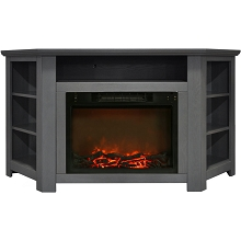 Cambridge Stratford 56 In. Electric Corner Fireplace in Gray with 1500W Fireplace Insert - CAM5630-1GRY