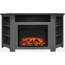 Cambridge Stratford 56 In. Electric Corner Fireplace in Gray with Enhanced Fireplace Display - CAM5630-1GRYLG2