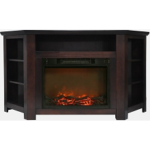 Cambridge Stratford 56 In. Electric Corner Fireplace in Mahogany with 1500W Fireplace Insert - CAM5630-1MAH