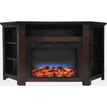 Cambridge Stratford 56 In. Electric Corner Fireplace in Mahogany with LED Multi-Color Display - CAM5630-1MAHLED