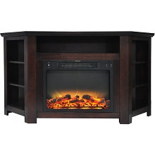 Cambridge Stratford 56 In. Electric Corner Fireplace in Mahogany with Enhanced Fireplace Display - CAM5630-1MAHLG2