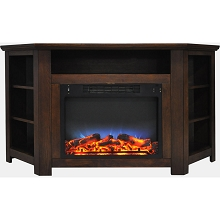 Cambridge Stratford 56 In. Electric Corner Fireplace in Walnut with LED Multi-Color Display - CAM5630-1WALLED