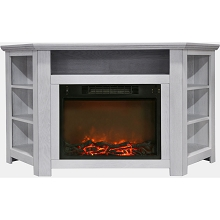 Cambridge Stratford 56 In. Electric Corner Fireplace in White with 1500W Fireplace Insert - CAM5630-1WHT