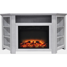 Cambridge Stratford 56 In. Electric Corner Fireplace in White with Enhanced Fireplace Display - CAM5630-1WHTLG2