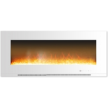 Cambridge Metropolitan 56 In. Wall-Mount Electric Fireplace in White with Crystal Rock Display - CAM56WMEF-1WHT