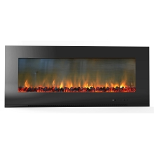 Metropolitan 56 In. Wall-Mount Electronic Fireplace with Flat Panel and Realistic Logs - CAM56WMEF-2BLK