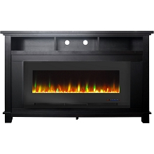 Cambridge San Jose Electric Fireplace TV Stand in Black with Color-Changing LED Fireplace Heater and Crystal Rock Display, CAM5735-1BLK