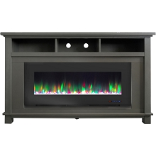 Cambridge San Jose Electric Fireplace TV Stand in Gray with Color-Changing LED Flames and Crystal Rock Display, CAM5735-1GRY