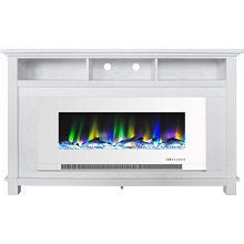 Cambridge San Jose Fireplace Entertainment Stand in White with 50