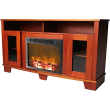 Savona Fireplace Mantel with Electronic Fireplace Insert in Cherry - CAM6022-1CHR