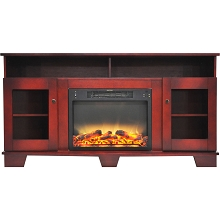 Cambridge Savona 59 In. Electric Fireplace in Cherry with Entertainment Stand and Enhanced Log Display - CAM6022-1CHRLG2
