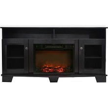 Cambridge Savona 59 In. Electric Fireplace in Black Coffee with Entertainment Stand and Charred Log Display - CAM6022-1COF