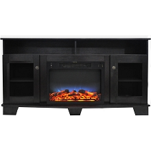 Cambridge Savona 59 In. Electric Fireplace in Black Coffee with Entertainment Stand and Multi-Color LED Flame Display - CAM6022-1COFLED