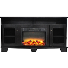 Cambridge Savona 59 In. Electric Fireplace in Black Coffee with Entertainment Stand and Enhanced Log Display - CAM6022-1COFLG2