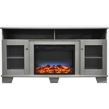 Cambridge Savona 59 In. Electric Fireplace in Gray with Entertainment Stand and Multi-Color LED Flame Display - CAM6022-1GRYLED