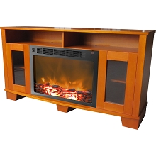 Savona Fireplace Mantel with Electronic Fireplace Insert in Teak - CAM6022-1TEK