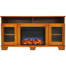 Cambridge Savona 59 In. Electric Fireplace in Teak with Entertainment Stand and Multi-Color LED Flame Display - CAM6022-1TEKLED
