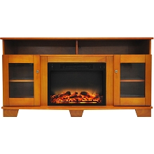 Cambridge Savona 59 In. Electric Fireplace in Teak with Entertainment Stand and Enhanced Log Display - CAM6022-1TEKLG2