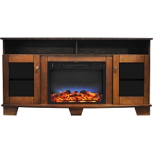 Cambridge Savona 59 In. Electric Fireplace in Walnut with Entertainment Stand and Multi-Color LED Flame Display - CAM6022-1WALLED