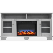 Cambridge Savona 59 In. Electric Fireplace in White with Entertainment Stand and Multi-Color LED Flame Display - CAM6022-1WHTLED