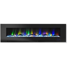 Cambridge 60 In. Wall-Mount Electric Fireplace in Black with Multi-Color Flames and Driftwood Log Display - CAM60WMEF-2BLK