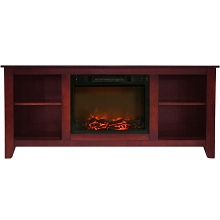 Cambridge Santa Monica 63 In. Electric Fireplace & Entertainment Stand in Cherry w/ 1500W Charred Log Insert - CAM6226-1CHR